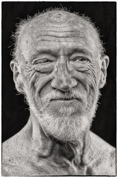 The Old Man, wrinkles, lines of life, beard, beauty, weathered, powerful face, intense eyes, portrait, photo b/w.