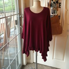 Maroon Ruffle Top *Plus* Somehow the tag fell out but this is a boutique 3X. Similar brand to Umgee. Ruffles on hem and end of sleeves. Trapeze fit. So cute for game days if your color is maroon! Gently worn. ❤️Bundle to save!❤️ Tops Tees - Long Sleeve