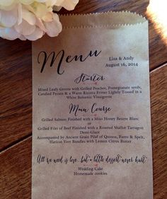 Hey, I found this really awesome Etsy listing at https://www.etsy.com/listing/198051638/wedding-menu-bags-elegant-and-custom-for