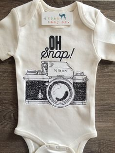 Oh Snap Vintage Nikon Camera, Photographer, Photography Baby, Boy, Girl, Unisex, Gender Neutral, Infant, Toddler, Newborn, Organic, Bodysuit, Outfit, One Piece, Onesie®, Onsie®, Tee, Layette, Onezie®