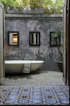 Outdoor bath. And those tiles!