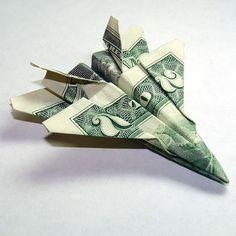 Dollar Origami - Two Dollar Jet Fighter F-18 Hornet. $15.00, via Etsy.