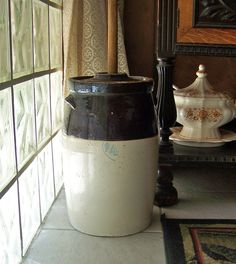 Vintage Stoneware Butter Churn by cynthiasattic on Etsy, $200.00
