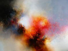 Groot Abstract olieverfschilderij door kunstenaar Simon Kenny