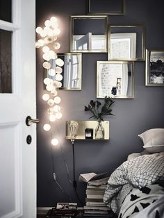 Bedroom Details In A Gothenburg Apartment With A Bold Dark Bedroom - Gravity Home - Interior Decor Home Bedroom, Bedroom Decor, Bedroom Ideas, Bedroom Lighting, Design Bedroom, Modern Bedroom, Bedroom Plants, Master Bedroom, Wall Decor