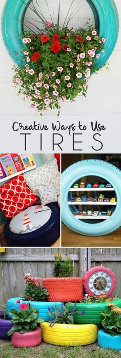Creative ways to use old tires - make a planter, design a toy shelf and more