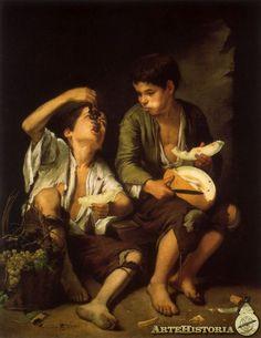 MURILLO 1645-50. Dos niños comiendo melón y uvas.