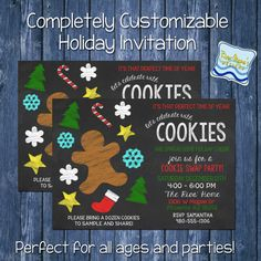 Printable Holiday/Christmas Party Invitation / Chalkboard theme / Cookie Swap Baking Party
