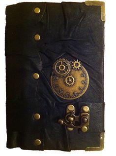 Handmade steampunk vintage victorian clock black leather journal notebook sketchbook. $44.99, via Etsy.