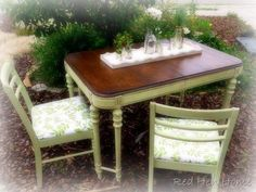 Thrift Store Fabulousness, I like the table top refinished wood and the rest painted.