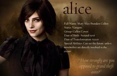 alice. One of the few characters I like in the books.