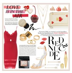 """Hot Red Dress"" by sabbbycat ❤ liked on Polyvore featuring Forever 21, Charlotte Olympia, Giuseppe Zanotti, Bobbi Brown Cosmetics, Stila, Tiffany & Co., Pieces, Christian Louboutin and Hershey's"
