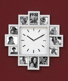 SILVER WALL CLOCK WITH PICTURE FRAMES*NEW*~FREE SHIPPING* $29.99