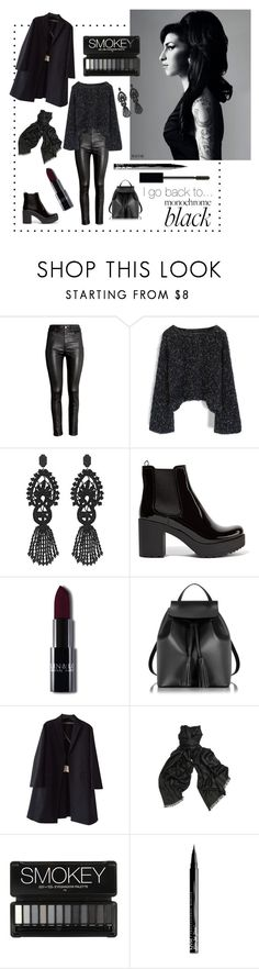 """Back to Black"" by laislabonita88 ❤ liked on Polyvore featuring Amy Winehouse, H&M, Chicwish, Gucci, Prada, Le Parmentier, Rochas, Haider Ackermann, NYX and allblack"