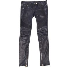 Pre-owned Balmain Leather Slim Pants (£430) ❤ liked on Polyvore featuring pants, navy, genuine leather pants, leather trousers, real leather pants, navy blue trousers and balmain pants
