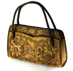 GORGEOUS HAND TOOLED HANDMADE LARGE GENUINE LEATHER PURSE SATCHEL MADE IN MEXICO #UNKNOWN #Satchel