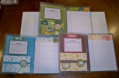 Memo Pads - opened using clear mount stamp cases from stampin up