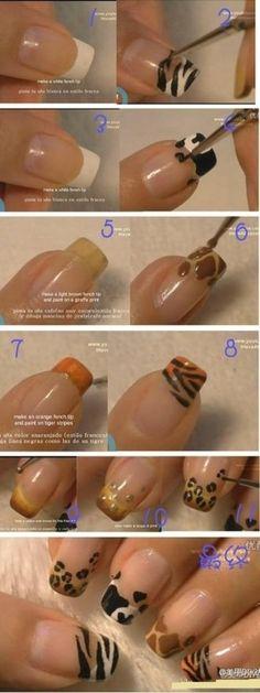 DIY animal print nail tips!  #DIY #stepbystep #animalprint #nailart