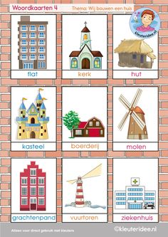 Woordkaarten 4, thema 'wij bouwen een huis', kleuteridee, free printable Ks1 Classroom, Art Classroom Decor, Holiday Themes, Christmas Themes, Learn Dutch, Around The World Theme, Dutch Language, Family Theme, Creative Curriculum