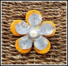 Free Hand Embroidered Fabric and Felt Brooch £4.95