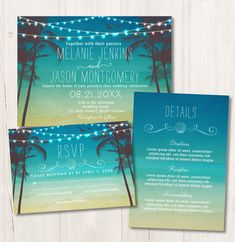 Beach Wedding Invitation Collection, Tropical Palm Trees and Lights Wedding Invitation, RSVP Card and Details Card. Modern Tropical Wedding invite