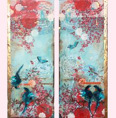 Kathe Fraga Art, copyright 2020 www.kathefraga.com Kathe's paintings are inspired by the romance of vintage French wallpapers and Chinoiserie with a modern twist. (40x16 each, on frescoed birch panel with gold leaf, Japanese gold ink and oil glaze.) Vintage Paris, Vintage Floral, French Vintage, French Wallpaper, Gold Ink, Chinoiserie, Gold Leaf, Art Forms, Art