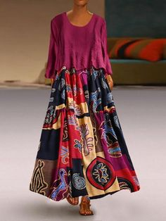 Two Pieces Ethnic Print Vintage Maxi Dress For Women is high-quality, see other cheap summer dresses on NewChic. Vestidos Vintage, Vintage Dresses, Women's Fashion Dresses, Casual Dresses, Maxi Dresses, Loose Dresses, Modest Fashion, Casual Outfits, Moda Formal