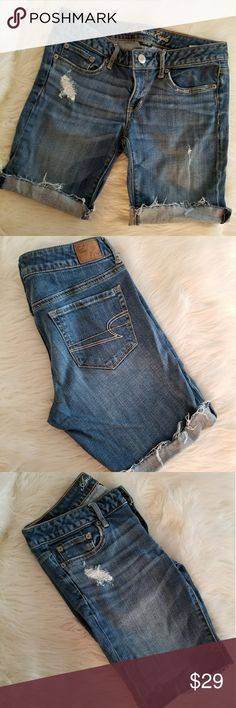 EUC* American Eagle Distressed Shorts* EUC* American Eagle Distressed Shorts* Size: 6* Stretch* Loved these & I tend to roll them up once or twice for a shorter length* Lost Weight & No longer fit* My loss is your gain* Style them the way you like them* Reasonable offers accepted* Bundle & Save* American Eagle Jeans