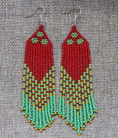 Colorful Beaded Boho Earrings, Native American Style Beaded Earrings , green, red and yellow color seed beads by SandasHandmades on Etsy Brick Stitch Earrings, Seed Bead Earrings, Boho Earrings, Seed Beads, Native American Earrings, Native American Beading, Native American Fashion, Beadwork Designs, Beaded Earrings Patterns