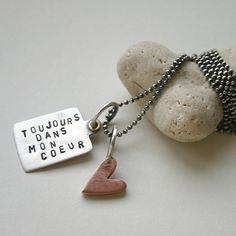 Love French Charm Necklace Forever In My Heart - Toujours - SToNZ Jewelry - pet resort Pet Resort, Love French, Copper Sheets, My Stamp, Ball Chain, Jewelry Crafts, Dog Tag Necklace, Initials, My Design