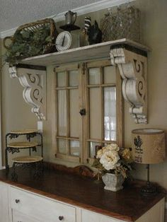 Love the idea of shelve over this window...would look great over double doors to screened porch....
