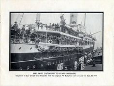 First troop ship to leave Brisbane S.S. Omrah. Onboard were the original 9th Battalion all completely recruited from Queensland.