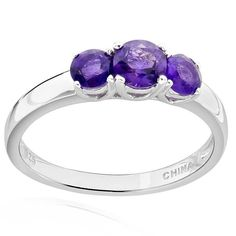 FD Sterling Silver Round Amethyst 3-stone Ring (China) (Ring Size ) Women's