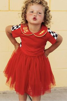 Lightening mcqueen dress.  Would also make a great nascar dress. Lightening Mcqueen, Disney Shirts, Race Cars, Nice Dresses, Bodice, Kids Fashion, Tulle, Dress Up, Racing