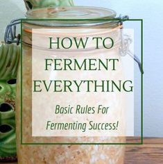 How to ferment: Basic Rules for Success - Fermenting for Foodies Everything you need to know for fermentation success. Learn how to ferment sauerkraut, kombucha, yogurt, sourdough bread, wine and more! Fermentation Recipes, Canning Recipes, Fermented Vegetables Recipe, Homebrew Recipes, Fermented Sauerkraut, Lacto Fermented Pickles, Fermented Bread, Fermented Cabbage, Vegan Recipes