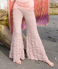 Loving this Sand Ruched Flare Pants - Women on #zulily! #zulilyfinds