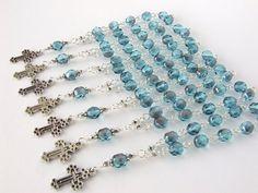Baptism Favors Set of 10  Aqua Blue Mini Rosary  by AngelRosaries