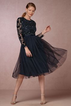 17a96cc6856 Midnight navy blue tulle and sequin cocktail dress with long sleeves New Party  Dress