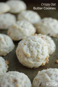 Crispy Coconut Pecan Butter Cookies, these cookies are SO good, crunch and sugary with a little bit of salty. YUM HandmadeintheHeartland.com