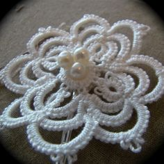 Tatted Hair Pin - The Bride's Lace Flower. $18.00, via Etsy.
