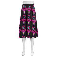 Neon Heart Flower Pot Mnemosyne Women's Crepe Skirt(Model D16)
