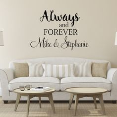 Always and Forever Personalized Wall Decal - Vinyl Lettering Wall Words Love Decal Master Bedroom Decor Wedding Wall Decal