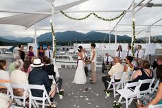 the mountains were the backdrop for our Celtic wedding ceremony, lesbian wedding, Vancouver, ocean, beach, Celebration on Water