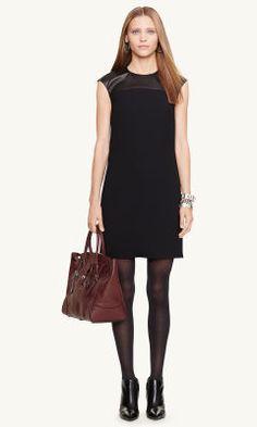 Lambskin-Trim Brooke Dress - Black Label  Short Dresses - RalphLauren.com