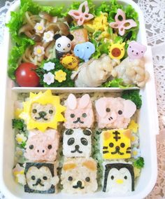 Animal cubic bento: use nori punches to create cute faces, especially on rice