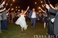 Sweet Meadow, West Georgia Wedding Venue Sparkler Send off.  Photo: Tessa Rice