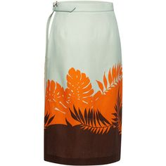 MSGM Tropical Ferns Wrap Sarong Skirt ($470) ❤ liked on Polyvore featuring skirts, msgm, msgm skirt and wrap skirt