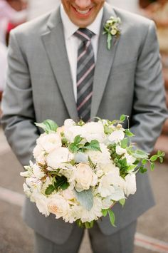 white and green wedding bouquet.  Photo by You Look Nice Today.