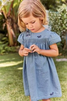 Denim Dress With Embroidery (3mths-6yrs)