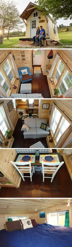 The Sunny Side tiny house sq ft) Shed To Tiny House, Tiny House Living, Tiny House On Wheels, Tiny House Design, Small Buildings, Small Houses, Little Houses, Tiny House Luxury, Microhouse